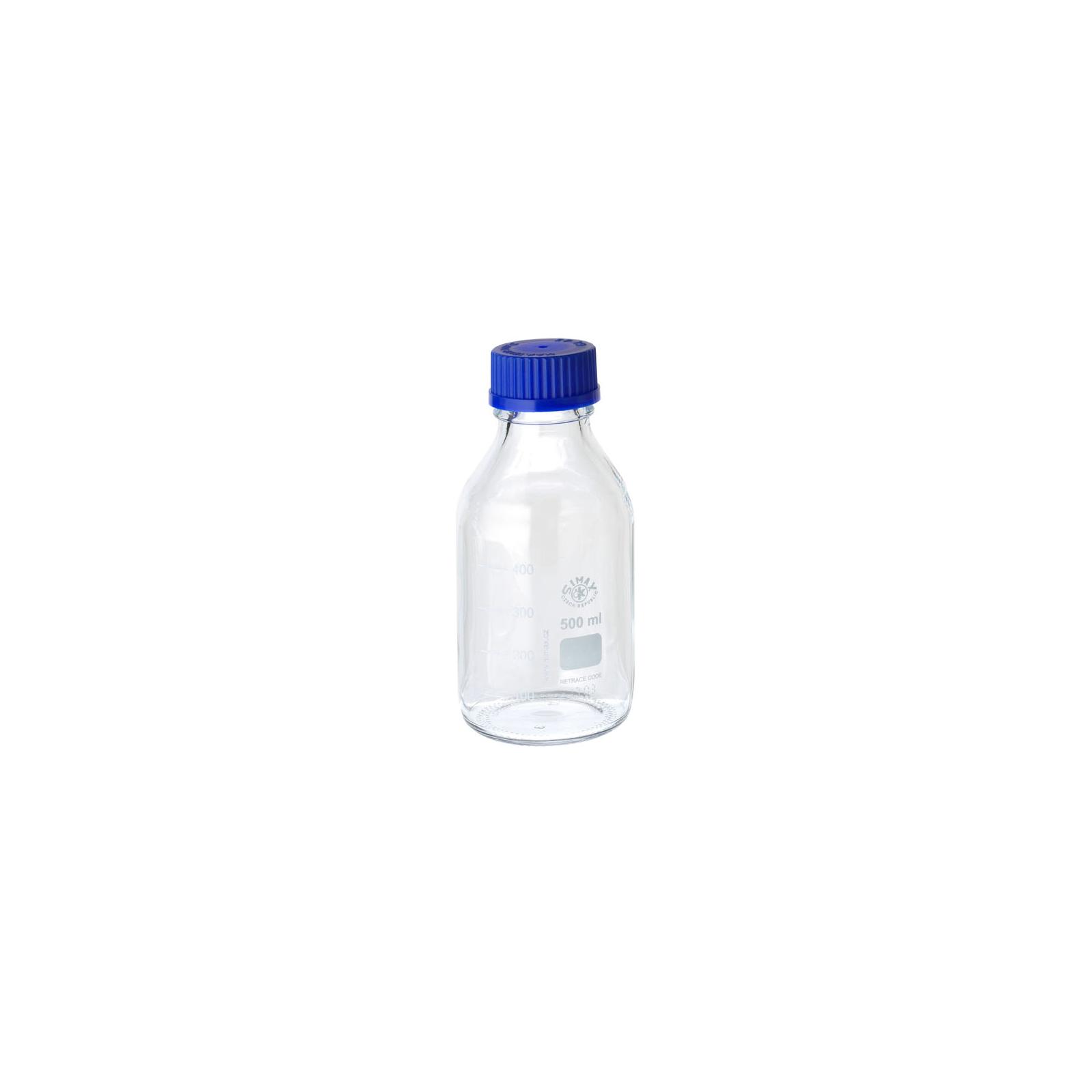 Bottle, laboratory, 500 ml, clear, with blue screwcap GL 45
