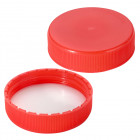 Cap, screw, for HDPE bottle, 63 mm, red, polypropylene, PE-schuim